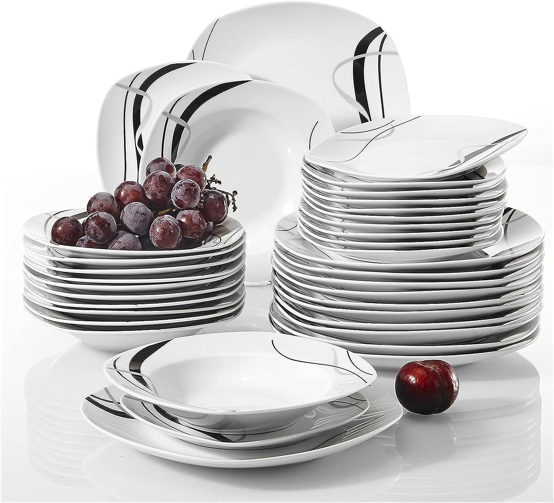 JL819 36-Piece Porcelain Ceramic Black Di Line Mesa Mall shop Kitchen Tableware
