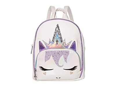 OMG! Accessories Regal Unicorn Queen Mini Backpack with Metallic Face (White) Backpack Bags