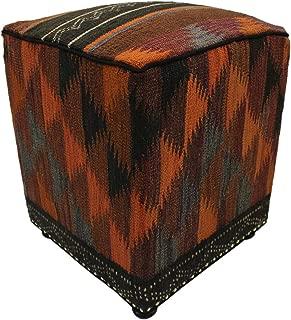Arshs Fine Rugs Campbell Orange/Rust Handmade Kilim Upholstered Ottoman 16