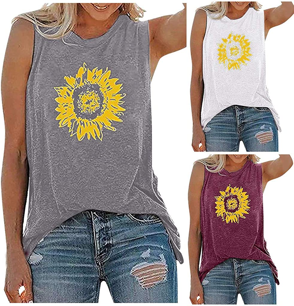 AODONG Summer Tops for Women, Womens Casual Summer Graphic Tank Tops Sleeveless Loose O-Neck Floral Printed Tee Shirts