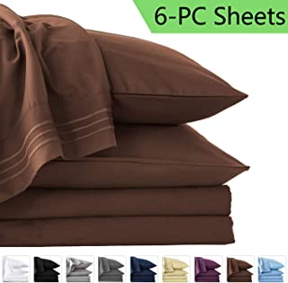 LIANLAM Queen 6 Piece Bed Sheets Set - Super Soft Brushed Microfiber 1800 Thread Count - Breathable Luxury Egyptian Sheets Deep Pocket - Wrinkle and Hypoallergenic(Queen, Brown)