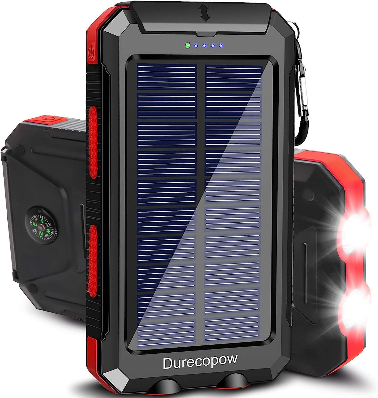 Solar Charger, Durecopow 20000mAh Portable Outdoor Waterproof 20000mAh-Red