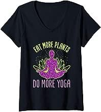 Womens Eat More Plants Do More Yoga V-Neck T-Shirt