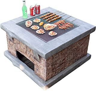 """Outdoor Fire Pit Imitation Stone Outdoor Wood Fire Pit, Backyard Patio Garden Fireplace BBQ Grill Square Table, 75cm/29.5""""..."""