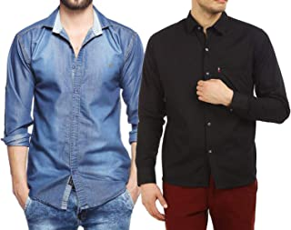 Finerbeast Cavender Combo Denim with Black Cotton Casual Shirt
