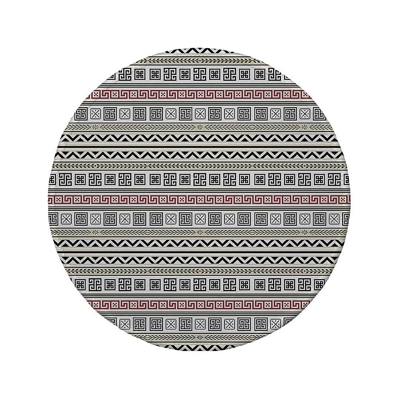 Non-Slip Rubber Round Mouse Pad,Ethnic,Tribal Geometric Pattern Antique Culture Inspirations Ancient Civilizations Decorative,Cream Black Ruby,11.8