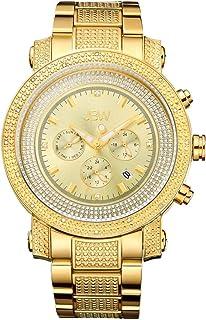 ساعة رجالية من جي بي دبليو مرصعة بـ16 الماسة ومطلية بالذهب، JB-8102-F