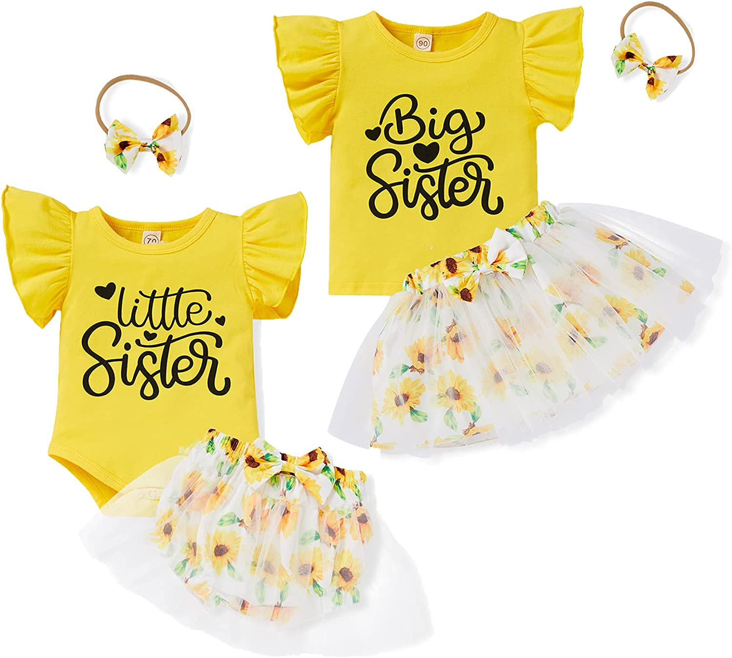 Baby Girl Sister Matching Outfits Little Big Sister Romper Tops + Tulle Sunflower Diaper Shorts Skirts 3Pcs Clothes Set