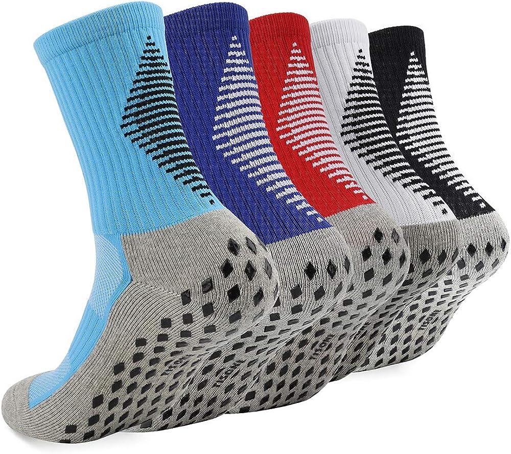 Tisone 3/5 Pairs Non-Slip Anti-Skid Socks with Grips, Pilates, Barre, Bikram Fitness Hospital Slipper Socks