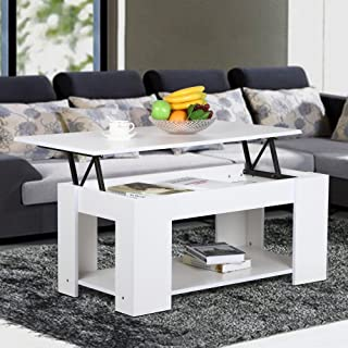 Yaheetech Modern Lift-up Top Tea Coffee Table w/Hidden Storage Compartment & Shelf White