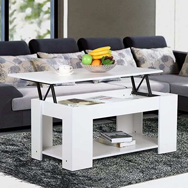 Yaheetech Modern Lift Up Top Tea Coffee Table W Hidden Storage Compartment Shelf White