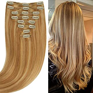 200g Real Triple Weft Extra Thick Clip in 100% Remy Human Hair Extensions Full Head (18 inch 7.05Oz #12P613 Golden Brown/Bleach Blonde) 8 Pcs Set Grade 10A Natural Hair Pieces Long Straight for Women