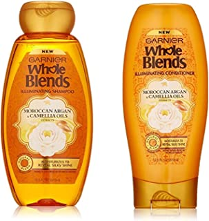 Garnier Whole Blends Illuminating Moroccan Argan Shampoo Conditioner Set 12.5 Ounce