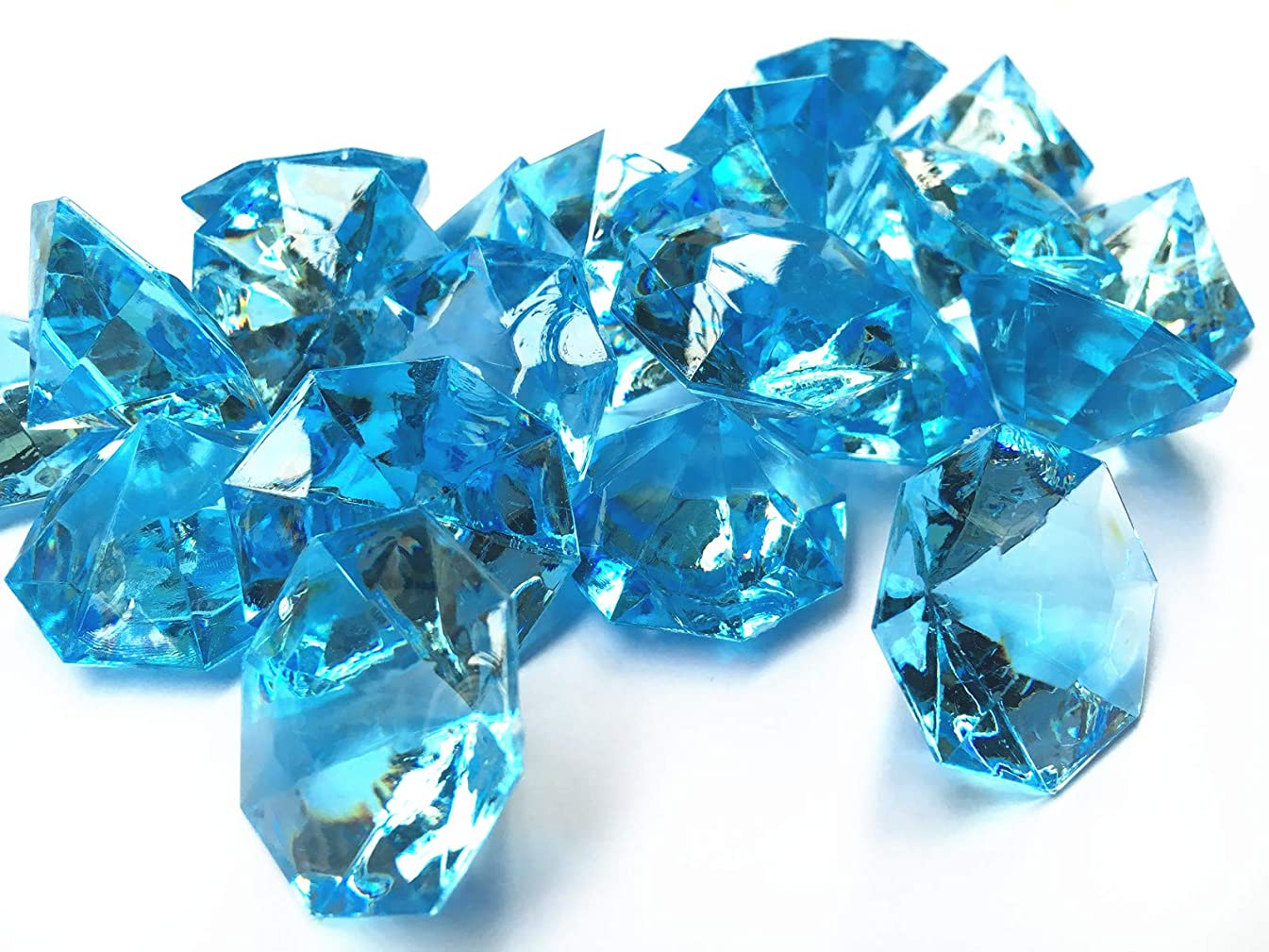 Liying Acrylic Diamond, 1.2 Inch Acrylic Colorful Round Treasure Gemstones Faux Round Confetti Diamond Crystals for Table Scatters, Vase Fillers, Party Decoration, Pack of 35 Pcs (Aqua Blue)