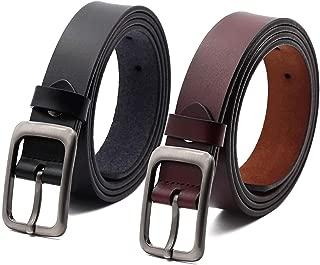 VIVOCH, Women Cowhide Leather Belt, Vintage Casual Belt for Women Jeans, Skirt, Pants, Dress with Alloy Pin Buckle