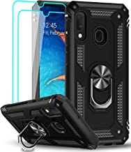LeYi pour Coque Samsung Galaxy A20e avec 2 Verre Trempé Protection écran, 360 Degrés Rotatif Anneau Support Militaire Renforcée Défense Bumper Antichoc Housse Etui pour Samsung Galaxy A20e Noir