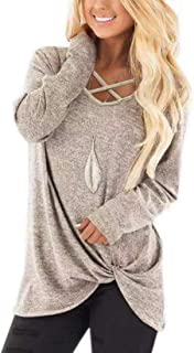 Womens Long Sleeves Shirts V Neck Loose Fit Fall Tunic Top