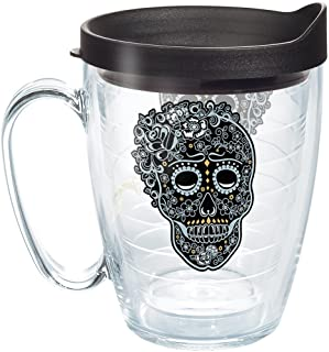 Tervis 1268992 Fiesta - Skull and Vine Tumbler with Wrap and Black Lid 16oz Mug, Clear