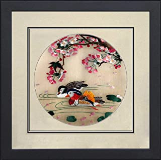 Silk Art 100% Handmade Embroidery Framed Two Birds on Tree and Branch For Home Modern Decoration and unusual gift for friends SilkArt014
