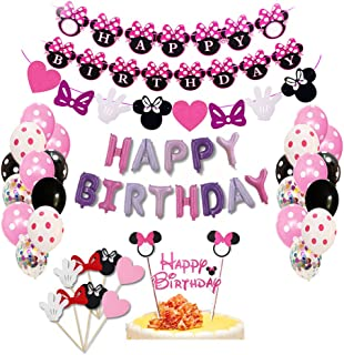Minnie Banner,Mouse Birthday Party Decor,Minnie Mouse Baby Shower Sign Bunting 2pcs 6.5 Feet//2M Minnie Mouse Paper Garland Banner Decorations Girl Party Supplies,Minnie Mouse Garland Minnie Mouse 1st Birthday Party Photo Props Table Decor