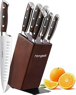 homgeek Ensemble de Couteaux Professionnel, 7 Pièces Set de Couteaux en Fabriqué en Acier Inoxydable Allemand 1.4116
