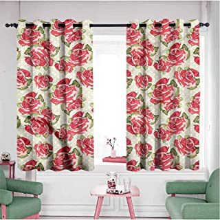 Mannwarehouse Grommet Curtains for Bedroom,Blackout Draperies/Drapes for Window, Shabby Chic - Romantic Symbols Love, Sliding Door Insulated Curtains - Set of 2 Panels, 55