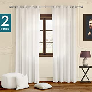 Chicology Curtain Panels, Grommet Top Window Drapes, Virginia White (Privacy & Light Filtering) - 52