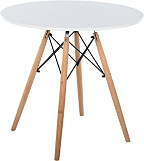 Table scandinave ronde de salle à manger cuisine blanc pieds en hêtre dim. 80L x 80l x 75H cm