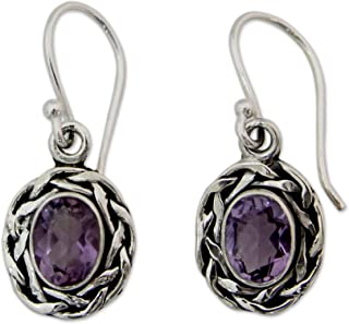 Woven .925 Sterling Silver and Amethyst Dangle Earrings, Indian Basket'