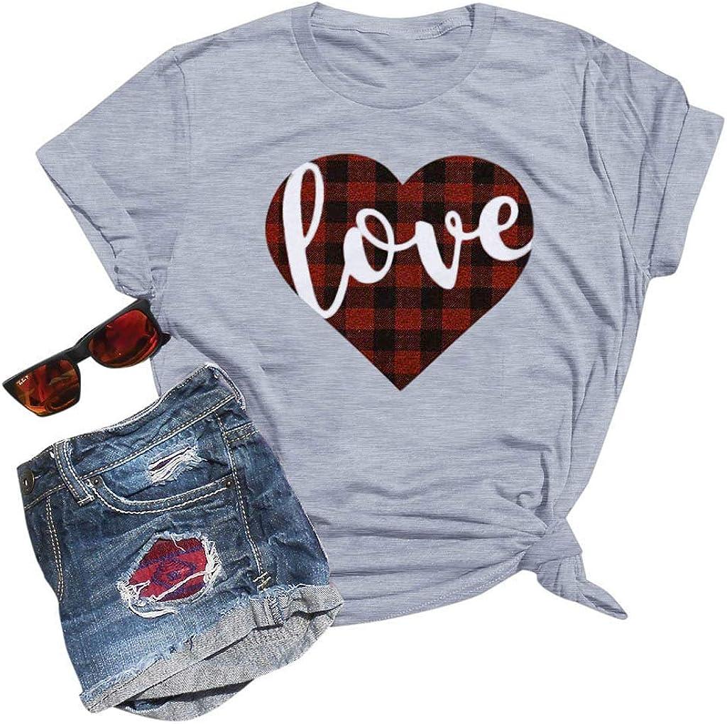 free Tupenty Women Shirts Love Printed Round Super sale period limited Summer Valentines Neck D