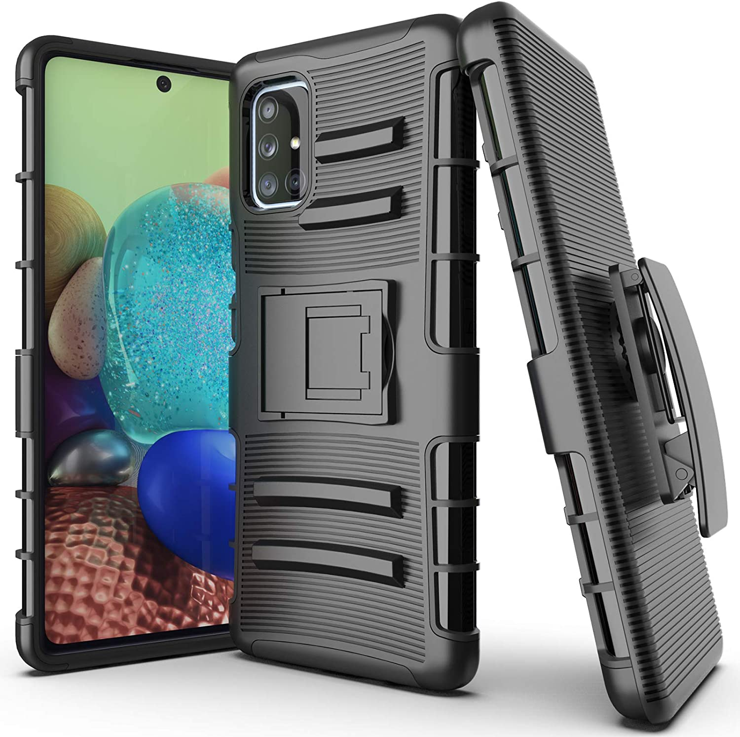 FANUBA for Galaxy A71 5G Case [Not for A71 5G UW Version] Belt Clip with Kickstand Military Grade Shockproof Holster Cover for Galaxy A71 5G - Black