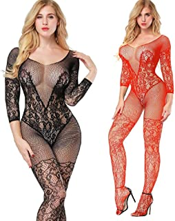 LOVELYBOBO 2 Pack Womens Plus Size Fishnet Bodystockings Striped Lingerie Crotchless Bodysuits Tights Suspenders