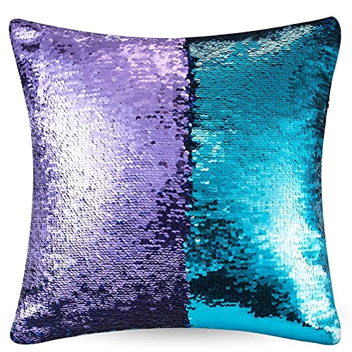 sports shoes f25cb 7d4df URSKYTOUS Reversible Sequin Pillow Case Decorative Mermaid Pillow Cover  Color Changing Cushion Throw Pillowcase 16""