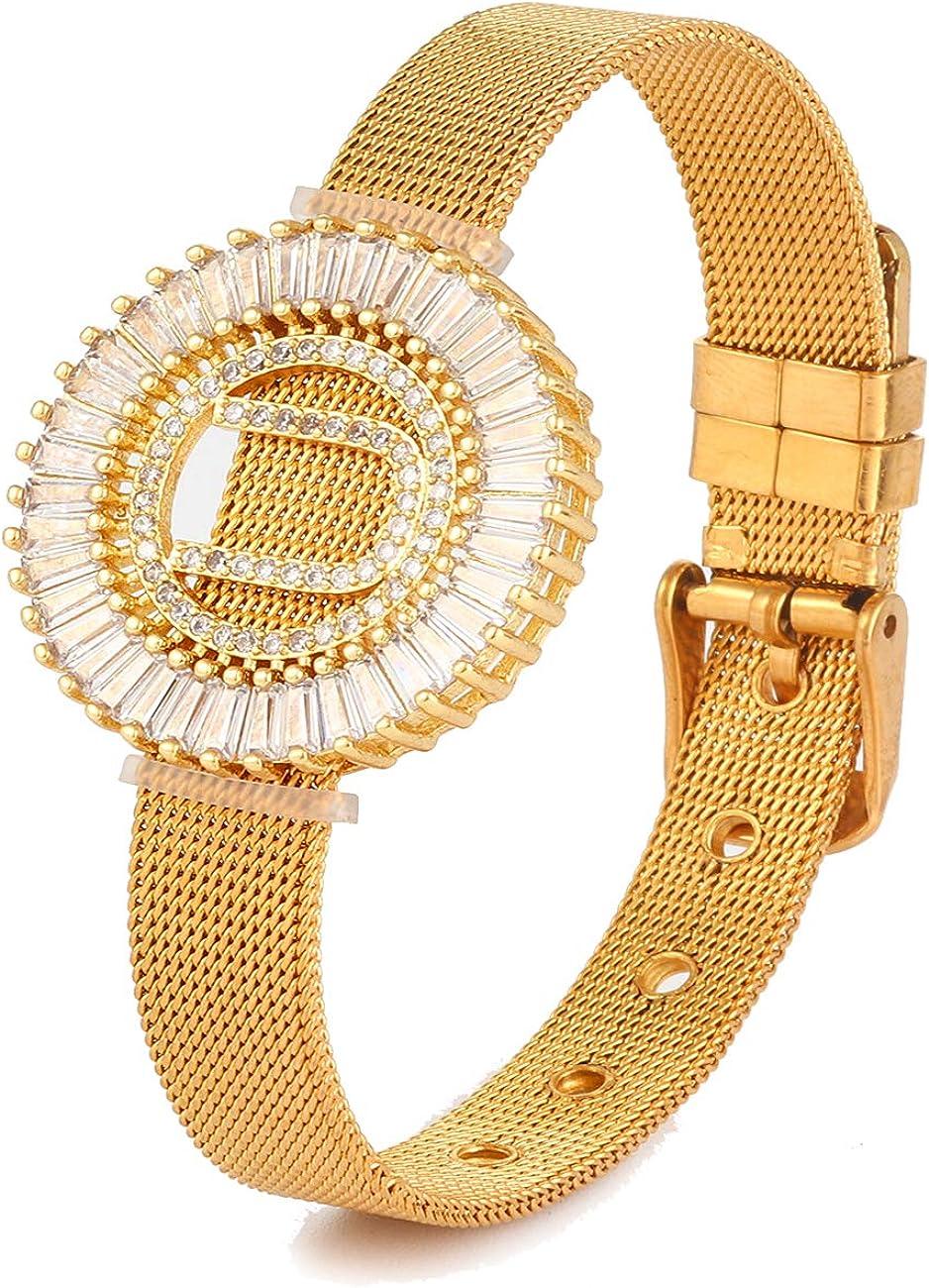 Rhinestone Initial Bracelet 18k Gold Stainless Steel Bangle Brac
