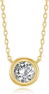 PAVOI 14K Gold Plated 1.00 ct (D Color, VVS Clarity) CZ Simulated Diamond Bezel-