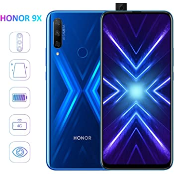 "HONOR 9X Smartphone Telefono Movil 4GB RAM 128GB ROM, Pantalla completa de 6.59"", 48MP AI Cámara triple + 16MP Cámara selfie emergente smartphones baratos, 4000mAh Dual Sim, Azul"