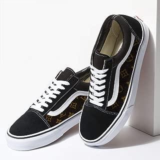 Vans Black Old Skool x Brown LV Pattern Custom Handmade Shoes By Fans Identity