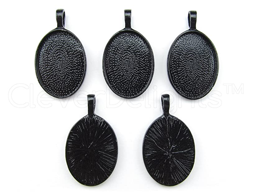 CleverDelights 20 Oval Pendant Trays - 18x25mm - Dark Black Color – 18 x 25 mm xabg23050