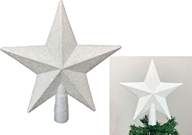 """PEPPERLONELY 8"""" H White Star Christmas Tree Topper Christmas Décor, Sparkling White Shatter Resistant Plastic, Perfect for An"""