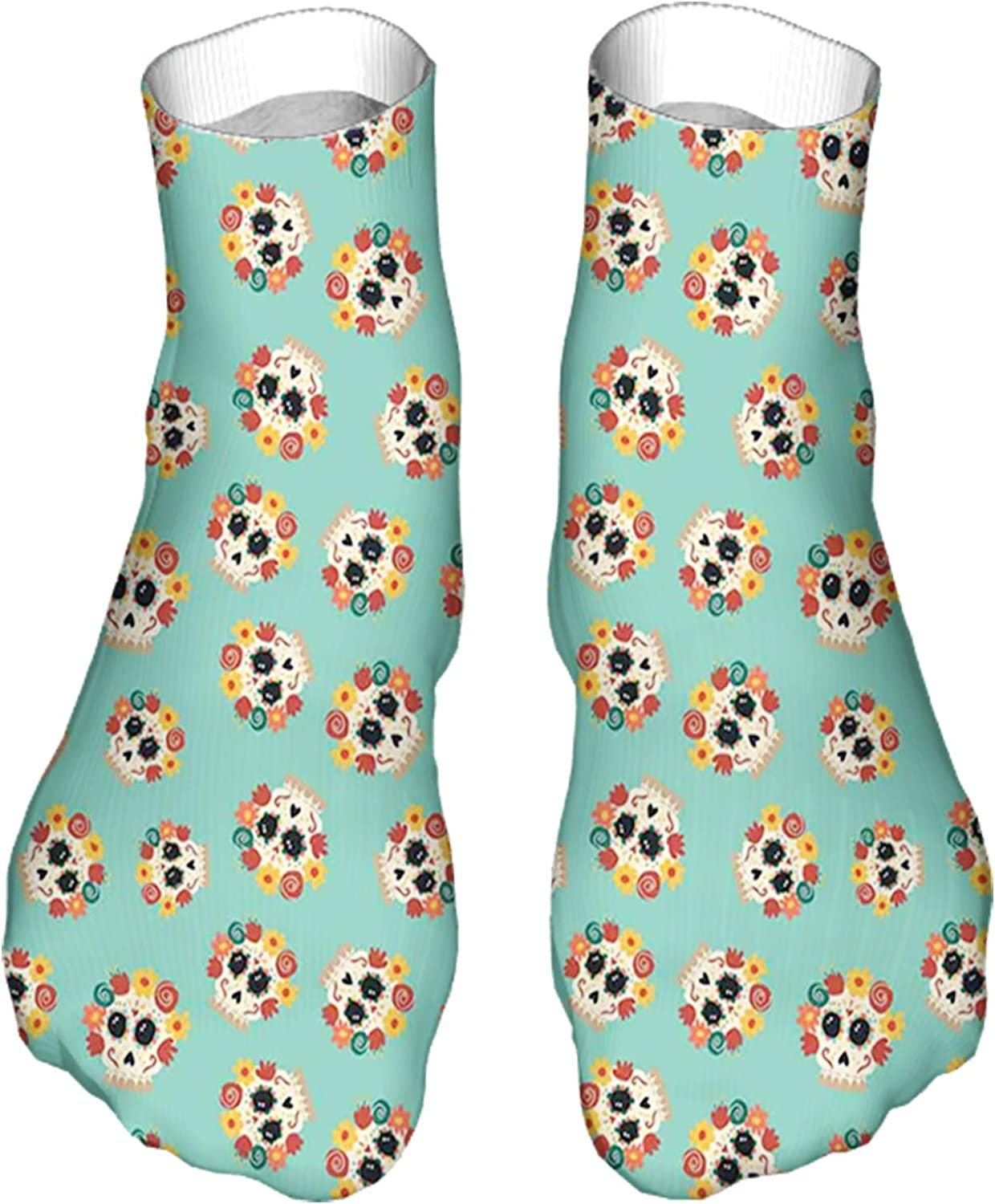 Women's Colorful Patterned Unisex Low Cut/No Show Socks,Latin American Culture and Tradition Theme Skulls