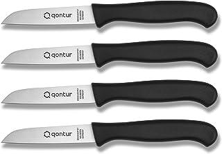 QONTUR Couteaux d'Office, Lot de 4 Couteaux de Cuisine, Lame Inox 8 cm, Epluche Legumes