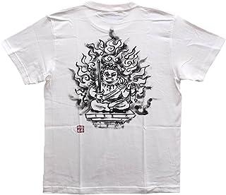不動明王 オリジナル Tシャツ 白黒 半袖 和柄 仏画 日本画 手描き 墨絵 伯舟庵