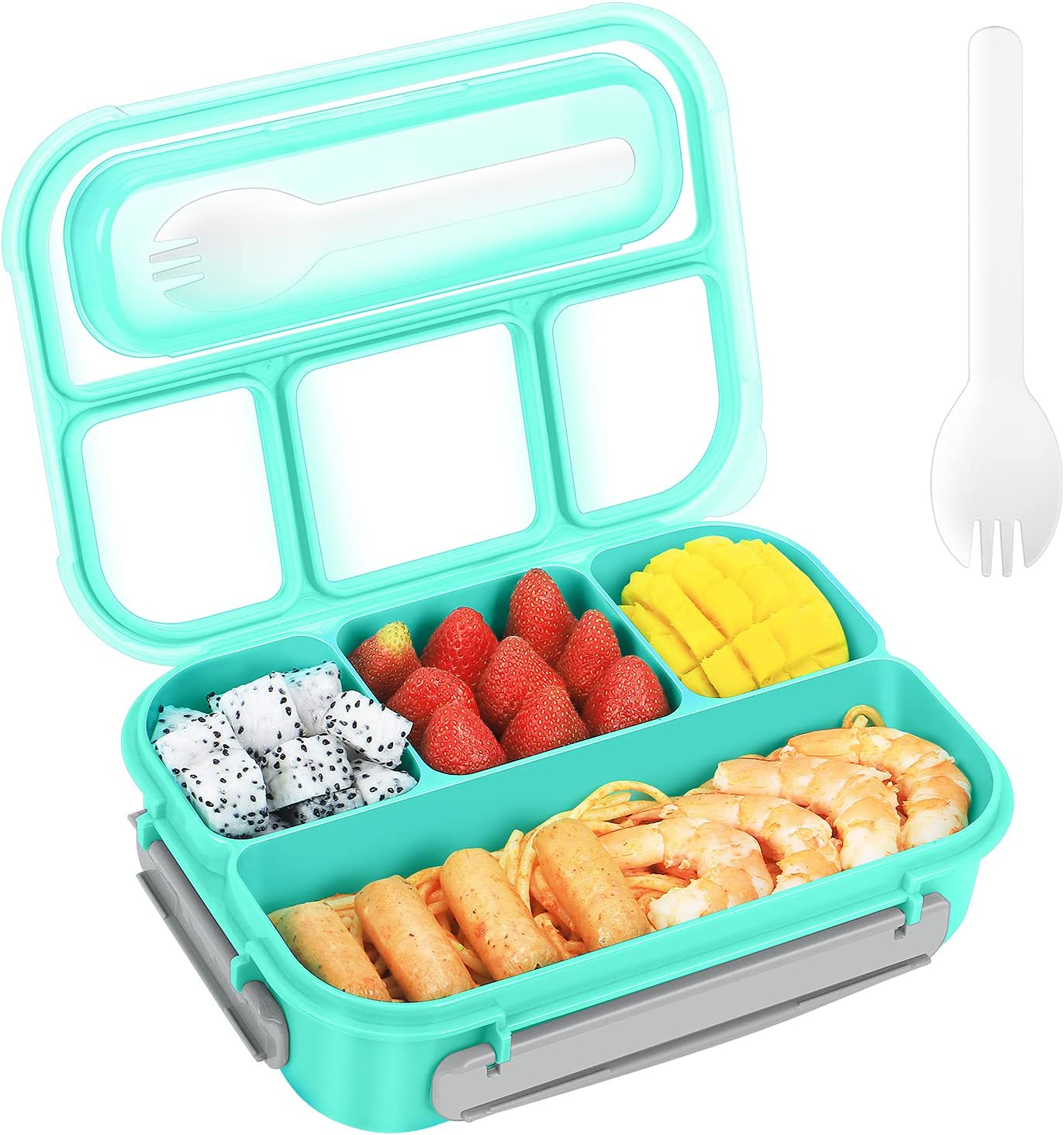 Fiambreras Bento,Caja de Bento Para Adultos y Niños,Fiambrera de Plástico Y caja de Almacenamiento de Alimentos,Bento de 4 Formatos-1300ML(verde)
