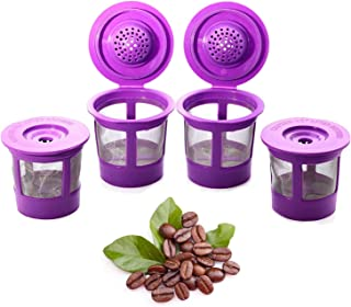 Reusable K Cups Coffee Filter Pod for Keurig 1.0 & 2.0 Machines - 4 Pack Replacement for Keurig K Cup Refillable - Universal Fit Most Keurig Brewers