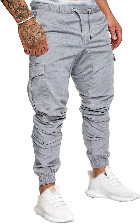 SOMTHRON Hombre Pantalón Cinturón de Cintura elástico Pantalones de chándal de algodón Largo Jogging Pantalones de Carga Deportiva de Talla Grande Jogger Slim Fit Pantalones