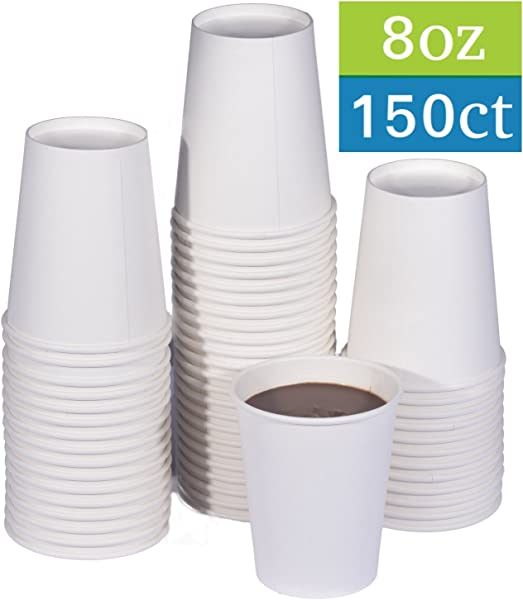 TashiBox Disposable Hot Paper Coffee Cups 150 Count 8 Oz