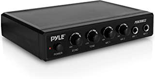 Pyle Portable Microphone Mixer Karaoke System with Dual Mic Support, 3.5mm Stereo Type Audio Input Jack & RCA Type Audio / Video Output Jack - Ideal for DJ Sound, Home Party, & Theater