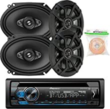 Pioneer DEHS4100BT Single-DIN CD Player Bluetooth Receiver, 2 x Kicker 43CSC654 600W 6.5