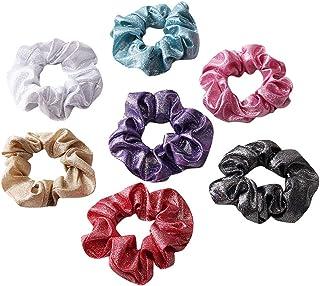 7 Pack Glittler Metallic Hot-stamping Fabric Hair Scrunchies School Performance Mermaid Slap Bracelet Gilding Ponytail Hol...