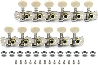 Metallor 12 Strings Acoustic Guitar Tuning Pegs Chrome Plated Machine Heads Single Hole 6L 6R.